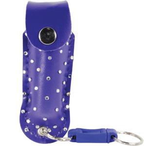 pepper shot 1.2% MC 1/2 oz rhinestone leatherette holster quick release keychain purple front view