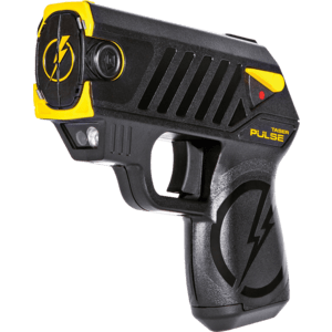 taser shown muzzle toward the front with side view.